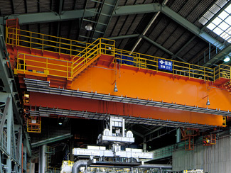 Overhead Crane with Billet Tong